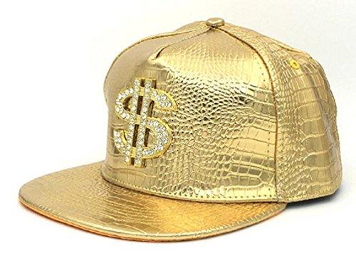 GreatJoy: Adjustable Metallic Baseball Snapback Cap Hats for Hip-Hop Funky Dance Club Costume (L, Gold-Dollar)