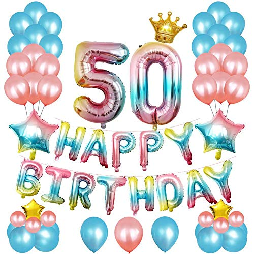 Budicool 50th Birthday Decorations Birthday Party Suppliers Party Decorations Kit-Happy Birthday Balloons,Rainbow Color Number Foil Balloons(50th Birthday kit)