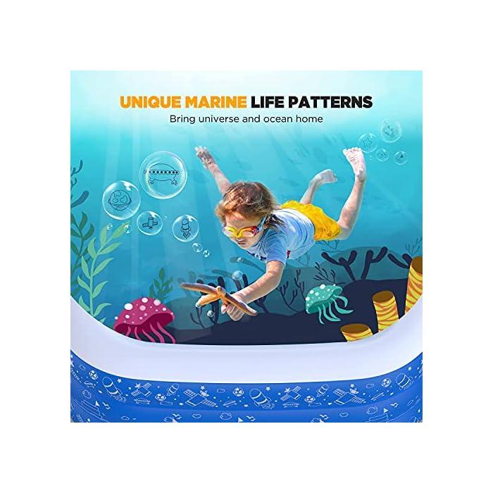51EFzls zOS La piscina inflable tiene capacidad para 2 adultos y 3 niños (300 x 180 x 56cm) para disfrutar de una fiesta en la piscina en el patio trasero. Las criaturas marinas, los transbordadores espaciales y otros patrones de la superficie aumentan la diversión entre padres e hijos La Hyvigor piscina hinchable fabricada de material de PVC de alta resistencia que protege el medio ambiente, espesor 0.4 mm, un 50% más gruesa que la mayoría del mercado, lo que reduce el riesgo de pinchazos y garantiza una larga vida útil 3 cámaras de aire individuales de la piscina pueden soportar un peso adicional al tiempo que evitan las fugas de aire, sin deformación a altas temperaturas, utilizable en la playa