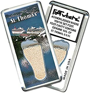 "product image for St. Thomas""FootWhere"" Magnet. (StT202 - Port-o-Call). Authentic Destination Souvenir acknowledging Where You've Set Foot. Genuine Soil of Featured Location encased Inside Foot Cavity. Made in USA."