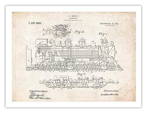 - 1915 Steam Locomotive Invention 18x24 Patent Poster