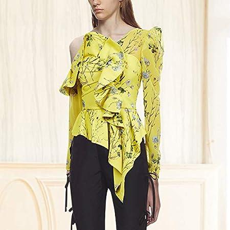 SETGVFG Blusa Floral Estampada con Cuello Torcido Camisa De ...