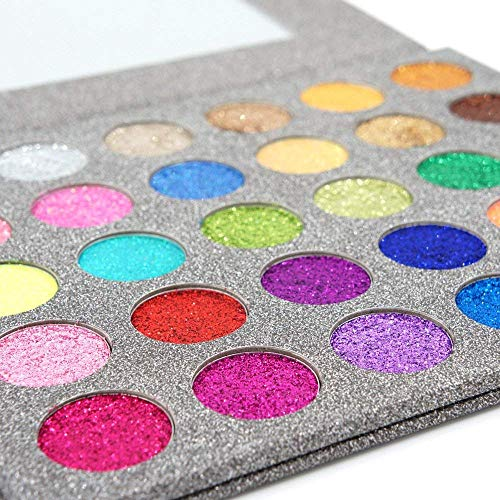 MISKOS 30 Colors All Diamond Glitter Eyeshadow Palette With Mirror - Rainbow Shimmer Professional Highly Pigmented Pressed Powder, Waterproof & Long-Lasting Eye Makeup Set