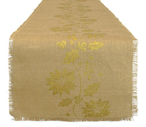DII 100% Jute, Gold Holly Printed, 14 x 72 Burlap Fringe Tab