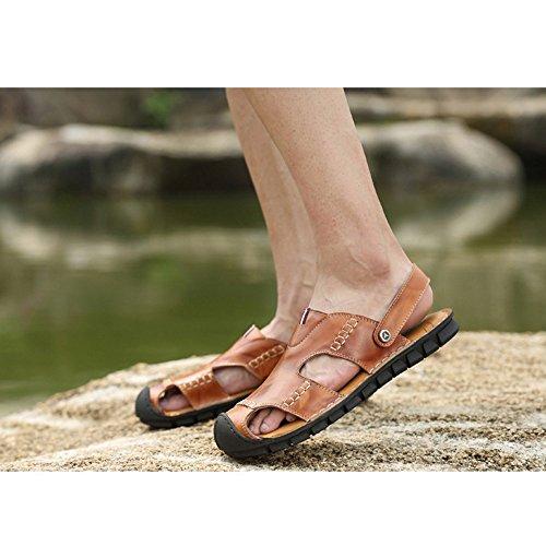 la uomo Sandali 40 tempo 2 Size antiscivolo Color per e il adatti spiaggia all'aperto libero sandali pelle regolabili 3 Brown per in coperto traspiranti al da Brown sandali EU vvwSZr5q