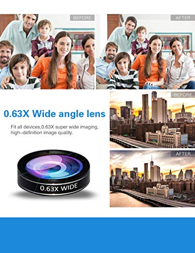 5-in-1 phone lens, 20x telephoto lens, 0.63x wide-angle lens, macro lens, fisheye lens, eye mask, Telescope Camera Mobile Zoom lens compatible iPhone Samsung Galaxy Huawei and most Android smartphones by Bostionye (Image #4)