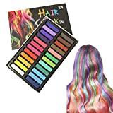 KINGZHUO 24 Pc Different Color Washable Temporary Hair Chalk Pens Vibrant Ombre Multicolored Hair Dye Pens for Crazy Hair Day Halloween Party Christmas