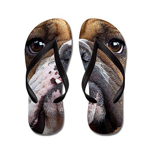 Cafepress Engelsk Bulldogg - Flip Flops, Roliga Rem Sandaler, Strand Sandaler Svart