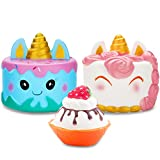 R.HORSE Jumbo Narwhal Cake Squishy Kawaii Cute Unicorn Mousse Ice Cream Scented Squishies Slow Rising Kids Toys Doll Stress Relief Toy Hop Props, Decorative Props Large (3Pack)