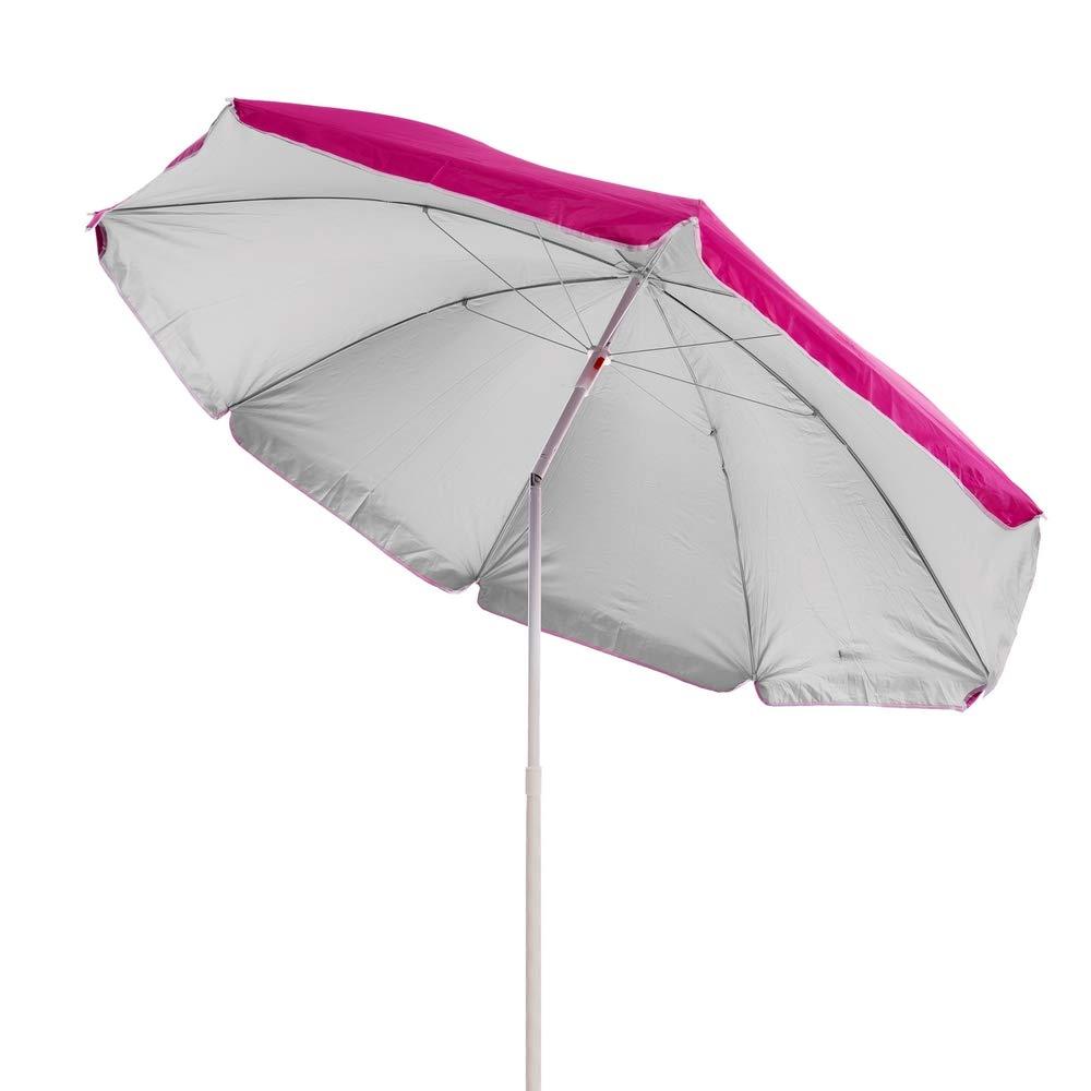 Lola Home Parasol de plage pliable en nylon Rose 220/cm
