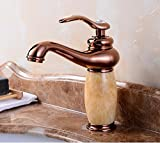 AWXJX European Style Jade Washbasin Gold Wash Basin Hot And Cold Copper Sink Taps