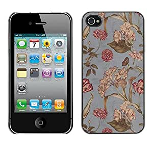 Jordan Colourful Shop - Grey Floral Design Spring For iPhone 4 / 4S Personalizado negro cubierta de la caja de pl????stico