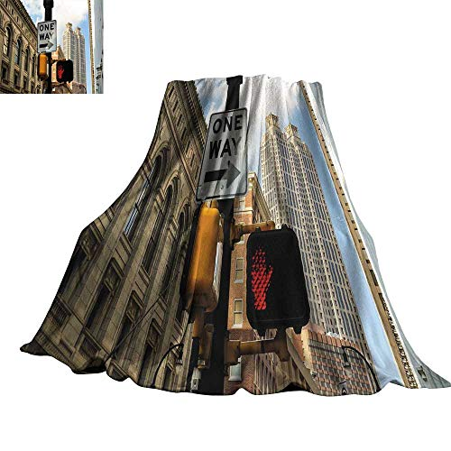 WinfreyDecor City Home Throw Blanket One Way Sign in Front of Atlanta Skyline Downtown Apartments Urban View 60