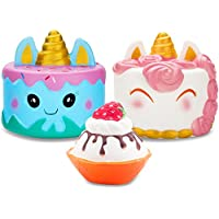 R • HORSE Jumbo Narwhal Cake Squishy Kawaii Cute Unicorn Mousse Ice Cream Scented Squishies Slow Rising Kids Toys Doll Stress Relief Toy Hop Props, Decorative Props Large (3Pack)
