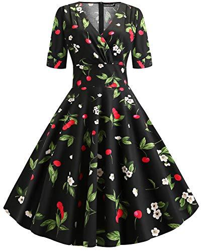Women's 1950s Vintage Deep V Neck Half Sleeve Retro Cocktail Swing Dress (Cherry, XL) ()