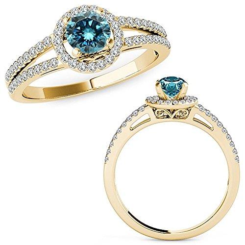 1.07 Carat Blue Diamond Lovely Design Beautiful Halo Anniversary Promise Women Band Ring 14K Yellow Gold ()
