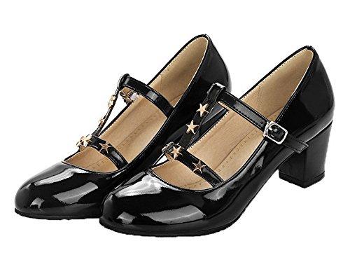 Mujeres Con De Agoolar Hebilla Microfibra Zapatos Medio Negro Tacón dA74Iqw