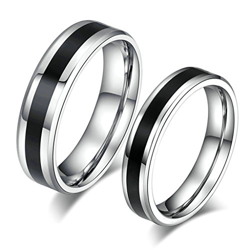 MoAndy Women Men Stainless Steel 6MM/4MM Silver Black Mataching Set Engagement Ring for His Her Size 13