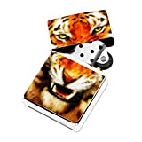 Tiger Painting - White Lighter Windproof Flip-Top Refillable with tin gift box
