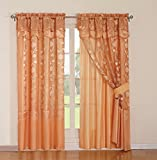 MarCielo Jacquard Curtain Set 2 Panel Drapes With Backing & Valance Window Treatment Drapery Blackout, Avr (light orange)