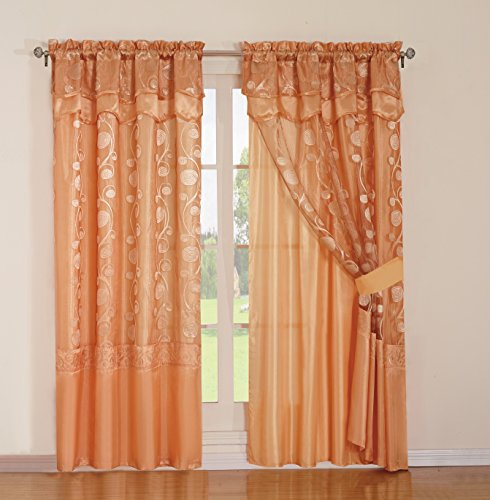 MarCielo Jacquard Curtain Set 2 Panel Drapes with Backing & Valance Window Treatment Drapery Blackout, Avr (Light Orange)