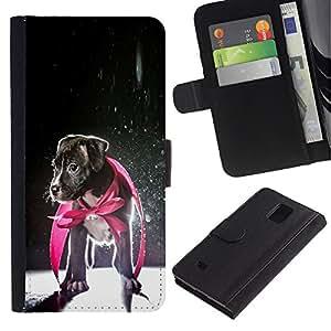 eJoy---La carpeta del tirón la caja de cuero de alta calidad de la PU Caso protector - Samsung Galaxy Note 4 IV - --Puppy Jack Russell Baby Dog Hero