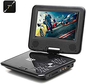 BW 7 pulgadas reproductor de DVD portátil para niños – función del juego, radio FM, antena de TV, Multi Formato apoyo, pantalla giratoria (negro): Amazon.es: Electrónica