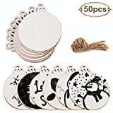 AerWo 50Pcs Wood Slices with Holes, 3.5'' Unfinished Round Wooden Discs DIY Crafts for Christmas Ornaments