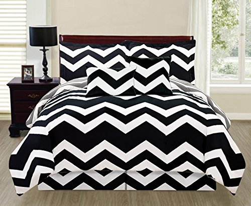 Amazoncom 6 Piece Black White Grey Reversible Queen Chevron