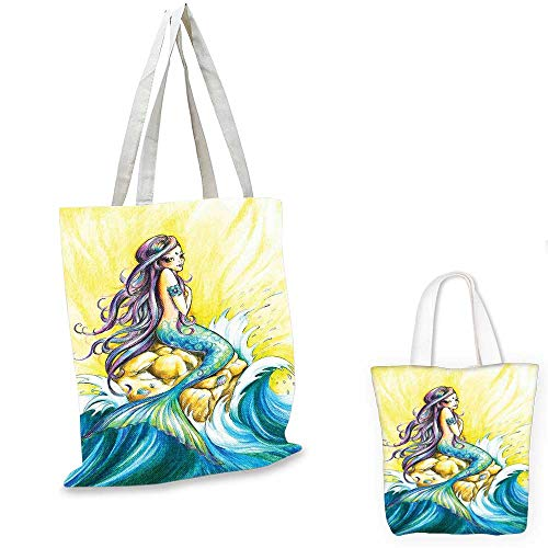 """Mermaid non woven shopping bag Magical Mermaid Sitting on Rock Sunny Day Colored Pencil Drawing Effect canvas bag shopping Yellow Blue Purple. 16""""x18""""-13"""""""