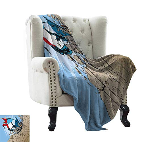 LsWOW Grey Throw Blanket Superhero,Old School Comic Book Hero and Villain on The Rocks Punching Kicking Cartoon,Multicolor Blanket for Sofa Couch TV Bed All Season 50