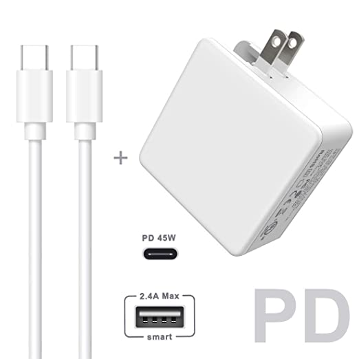 Amazon.com: USB C Charger, Quntis UL Certified Wall Charger with 6FT Type-C to Type-C 2.0 Cable, One 45W Power Delivery Port Compatible with MacBook Phone ...