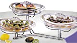 Elegant Stainless Steel 3 Tier Stairway Dessert/Appetizer Serving Tray With Plates And Lids