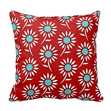 Amazon Red Teal White Floral Decorative Pillow Case Home Kitchen Simple Red And Turquoise Decorative Pillows