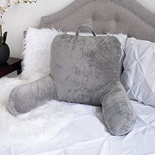 Sweet Home Collection Ultra Plush Brushed Microfiber Bed Rest Pillow Lounger - Ultimate BEDREST for Comfort and Support - Gray,