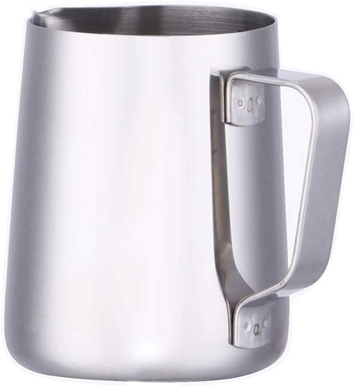 HENGRUI Milk Frothing Pitcher Sharp Mouth Handheld Frothing Pitcher, 18/10 Stainless Steel Measurement Inside 12oz, 20oz and 32oz, Milk Steaming Pitcher Suitable for Coffee, Latte and Frothing Milk