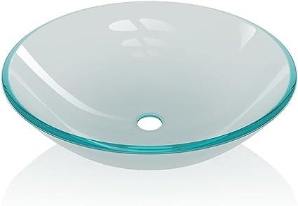 festnight lavabos de salle de bain vasque a poser en verre trempe depoli 42 x 14 cm