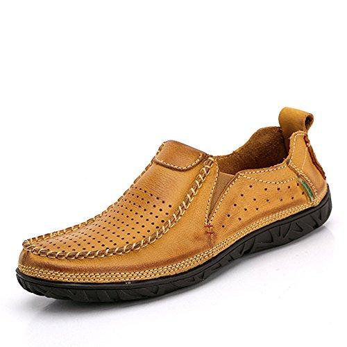 los Verano Hechos Mano Amarillo a de de Casuales de Zapatos Hombres Cuero Tf0vwWq