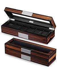 Lifomenz Co 6 Watch Box Organizer Mens Watch Case Large Watch Storage Box Wood 6 Watch Display Case