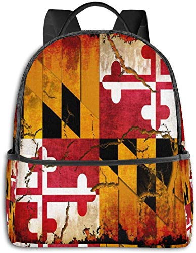 School Daypack Backpack, Large Capacity Rucksack for Camping Picnic Bicycle, Vintage Wooden Maryland Flag Camping Outdoor Backpack for Women Men, Back to School Gift