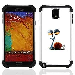 """SAMSUNG Galaxy Note 3 III / N9000 / N9005 - 3 en 1 impreso colorido de Altas Prestaciones PC Funda chaqueta Negro cubierta gel silicona suave (Caracol Ojos Stoned minimalista Dibujo"""")"""