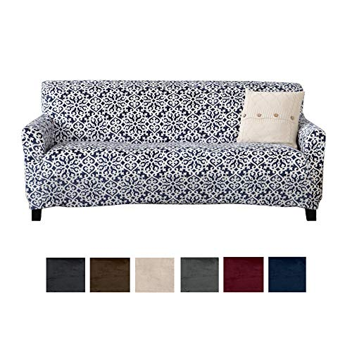 - Great Bay Home Modern Velvet Plush Strapless Slipcover. Form Fit Stretch, Stylish Furniture Cover/Protector. Gale Collection Brand. (Sofa, Snowflake - Dark Denim Blue)