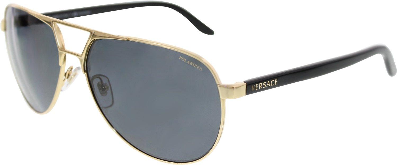 9f64645ee751 Versace Men s Polarized VE2142-100281-60 Gold Aviator Sunglasses  Versace   Amazon.ca  Clothing   Accessories