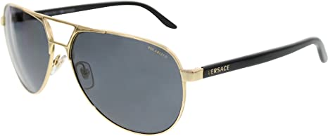 57d276aa2a55 Image Unavailable. Image not available for. Colour  Versace Men s Polarized  VE2142-100281-60 Gold Aviator Sunglasses