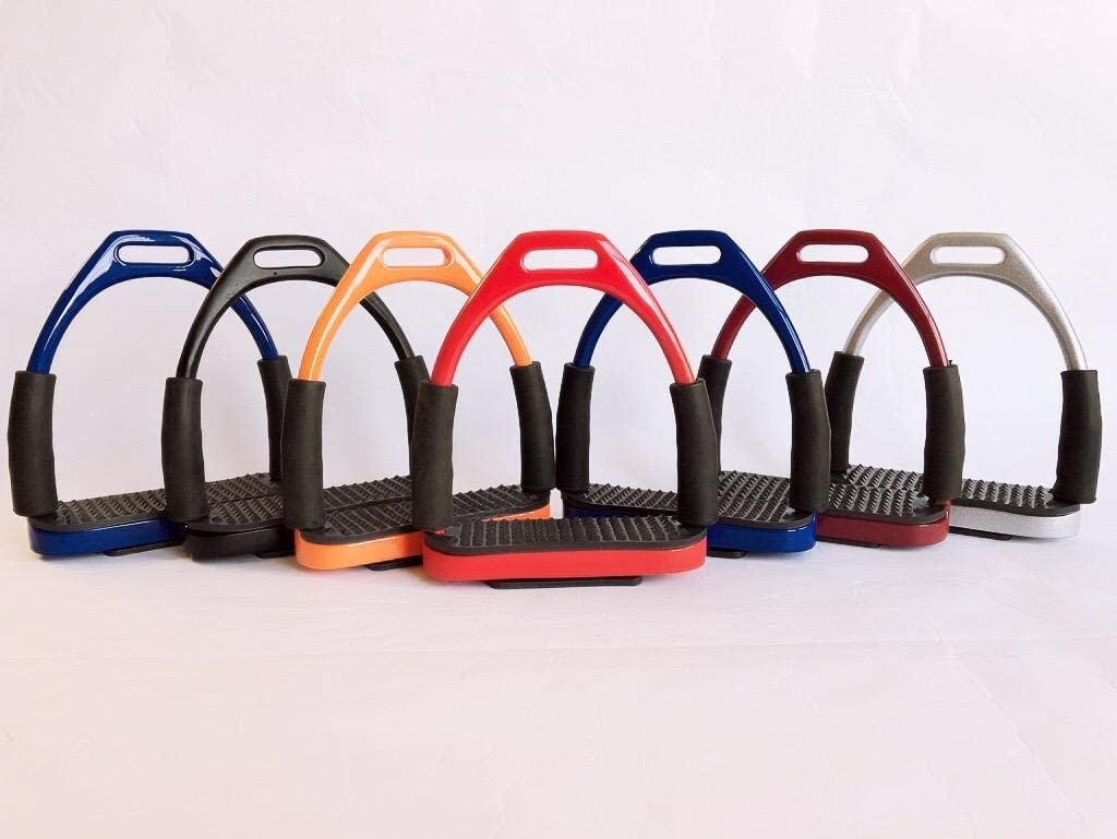 LIFT SPORTS New Horse Riding Rainbow Multi Color Safety Stirrups Flexible Bendy Double Bend Off Set English Riding TACK Saddle Shows