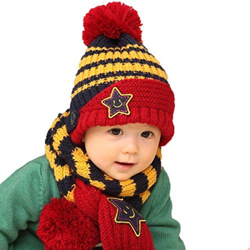 (Yotty Winter Baby Hat Wool Knitted Crochet Beanie Cap Scarf Set (Striped Navy))