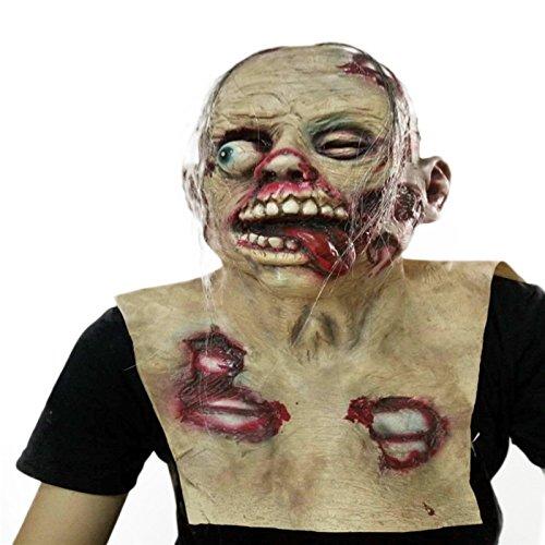 Nrpfell Halloween Horror Props Disgusting Rotten Face Bloody Zombie Mask Walking Dead Head -