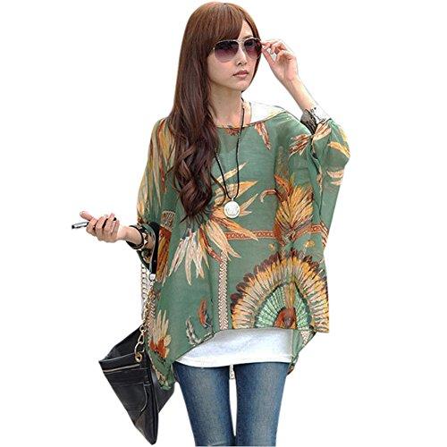 elegante fashionbeautybuy1 borchie maglietta tunica camicetta bambina colorato donna da con Boemia Color 3 taglia sciolto unica casual tops spiaggia floreale g4vng