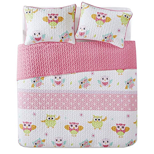 Pattern Kids Bedspread Mini Quilt Set - 3 Piece - Pink White - Teens/Girls - Owl Print - Full Queen Size, Includes 1 Quilt, 2 Sham ()