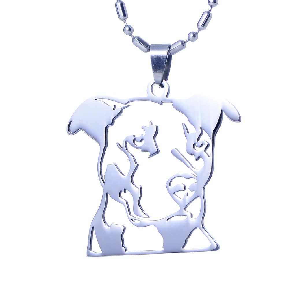Stainless Steel Natural Ear Pitbull Pit Bull Staffordshire Bull Terrier Dog Head Outline Pet Dog Tag Breed Collar Charm Pendant Necklace